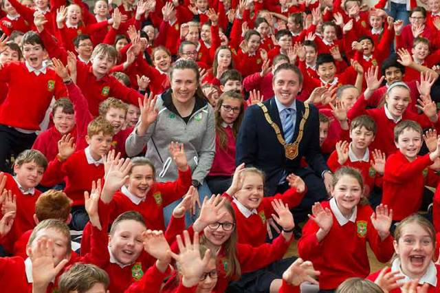 Annalise Murphy with An Cathaoirleach Cllr Cormac Devlin at The Harold National School in Glasthule, County Dublin
