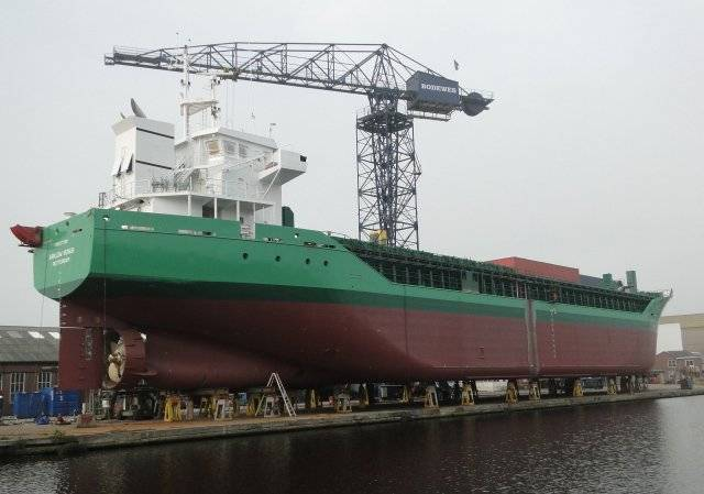 On the stocks is that of another Arklow newbuild in the form of a V-class cargoship which is seen at a Dutch yard.
