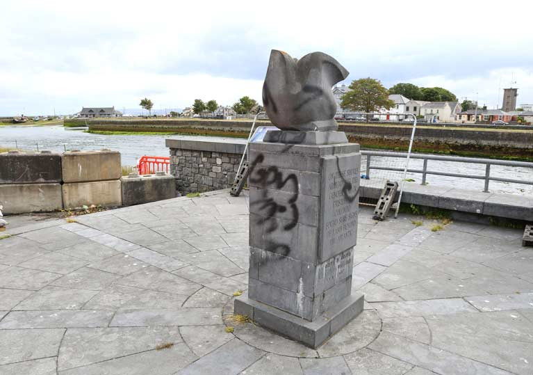 The monument marking explorer Christopher Columbus's links to Galway has been vandalised