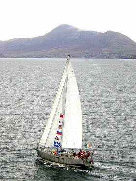 Northabout returns from her Arctic circumnavigation to her home port of Clew Bay in Mayo with a welcome from the holy mountain of Croagh Patrick