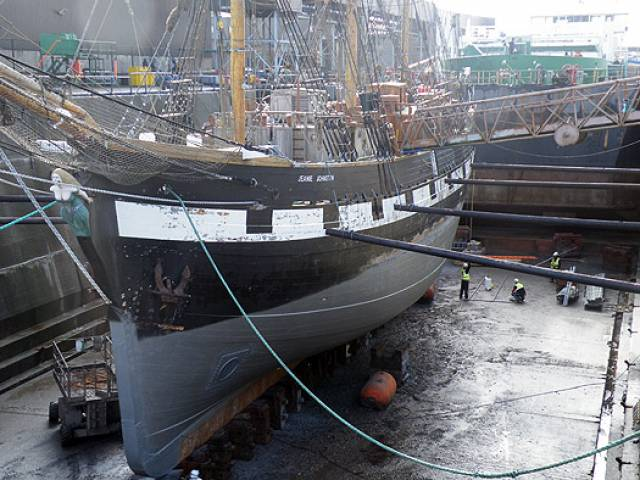 Replica famine-emigrant barque Jeanie Johnston is to become the last ever ship to be dry docked in Dublin Port (seen there in 2014) which is to close marking an end of an era in Irish maritime heritage