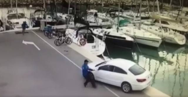 An exposed quayside and a runaway car poses real danger – see full video below