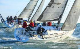 The Beneteau 43.7 Black Velvet (Leslie Parnell) to weather of the X35 D-Tox (Paddy McSwiney) in the third race of the DBSC Turkey Shoot