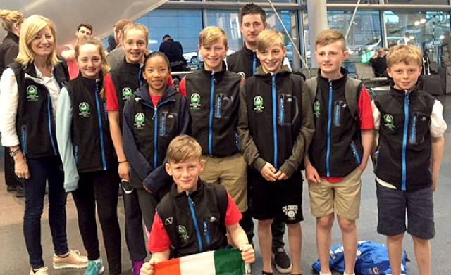 Oppie Euro team depart: Mel McGinley team mum, Alana Coakley RstGYC, Fiona Ferguson NYC, Leah Rickard NYC, Moss Simmington RstGYC, David White Team Coach, Hugh Turvey NYC and HYC, Michael Crosbie RCYC, Harry Tuomey RCYC and (front row) Conor Gorman NYC