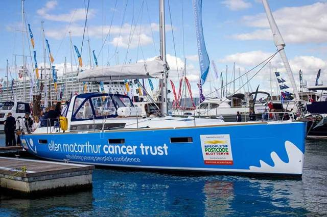 The new Beneteau 45 for the Ellen MacArthur Cancer Trust at the Southampton Boat Show
