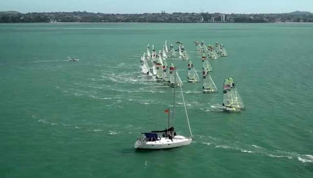 A yellow race start at the 49er World Championships in Auckland today. See video below.