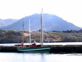 Aigh Vie at Letterfrack Pier in Connemara, making final preparations to sail for the Isle of Man
