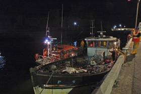 The stricken trawler from Kilkeel safely moored in Peel Harbour after its overnight ordeal