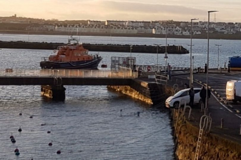 On the edge - the car came close to plunging into Portrush harbour on Tuesday