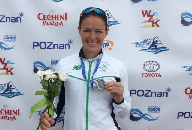Jenny Egan with her silver medal in Poznan