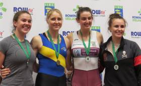 Aileen Crowley, Sanita Puspure, Fiona Murtagh and Aifric Keogh, medal winners at the Indoor Championships.
