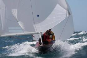 Tough going for a classic – in the very varied weather for the 160-boat fleet at the 90h Anniversary International Dragon Regattta at San Remo, the large classics division had to take the rough with the smooth along with the rest of the fleet