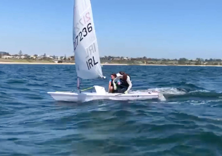 Annalise Murphy takes Sonia O'Sullivan for a spin in her Laser Radial in the waters off Melbourne