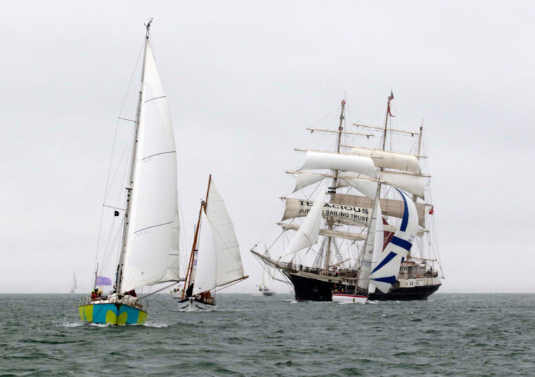 Jubilee Sailing Trust's SV Tenacious at the Cowes Small Ships Race in 2018