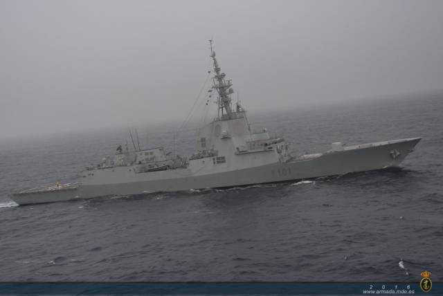 "The ""Álvaro de Bazán"" class frigate belongs to the 31st Escort Squadron based in Ferrol, Corunna in north-west Spain."