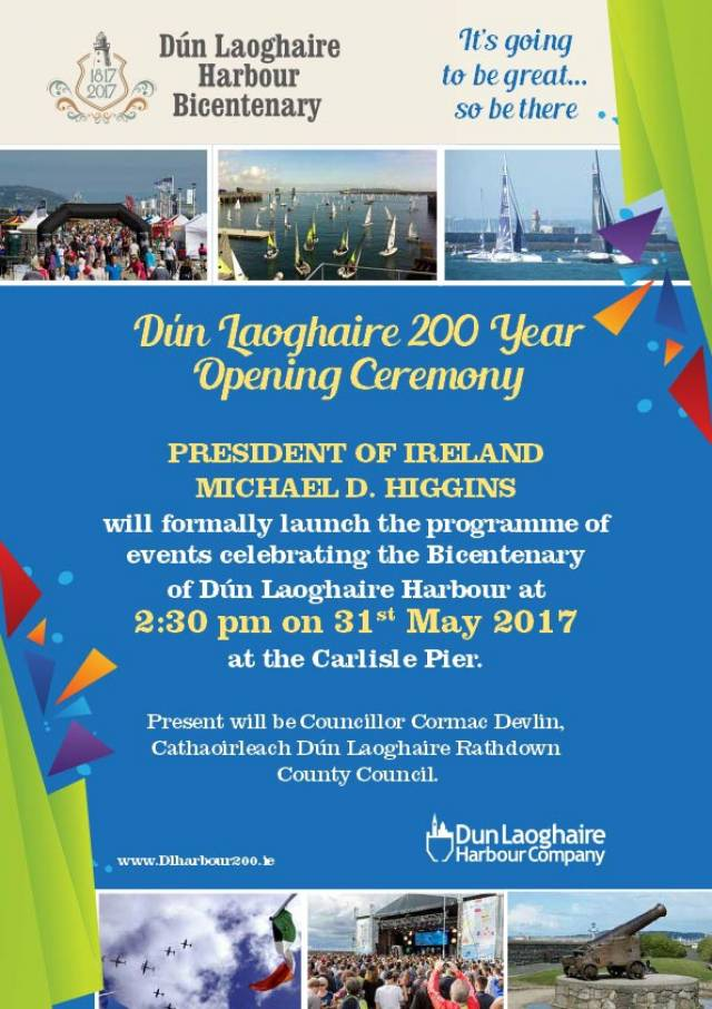 President Officiates Dun Laoghaire Harbour Bicentenary This Wednesday