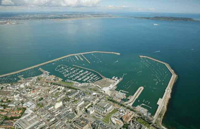 A 2013 aerial image looking northwards from Dun Laoghaire Harbour out into Dublin Bay and beyond