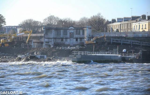 The new jetty pictured here in the foreground is partially constructed at the Old Baths site at Dun Laoghaire