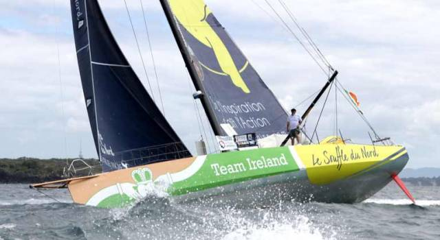 Enda O'Coineen sailing the boat on which he completed his Vendée Globe route