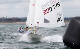 Darragh O'Sullivan (IRL 200745) rounding the gybe mark of the seventh race in the Laser Radial Mens World Championships on Dublin Bay which is being jointly hosted by the Royal St George YC and Dun Laoghaire Harbour Company and runs until Saturday 30th July.