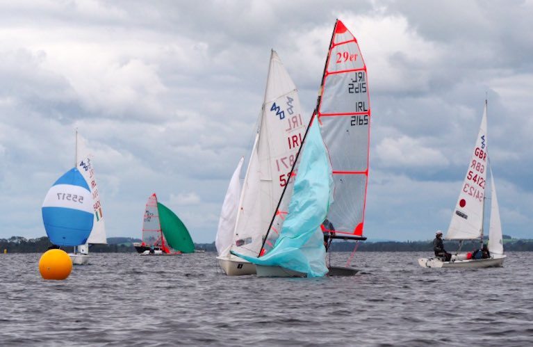 The Double Ree 420 and 29er fleets approach a leeward mark on Lough Ree Yacht Club