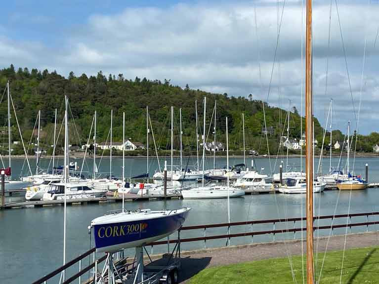 Yachts tied up at Royal Cork marina in Cork Harbour