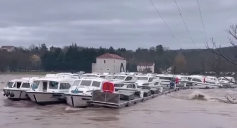 Video Shows Cruiser Fleet Carried Away Amid Severe Flooding in France