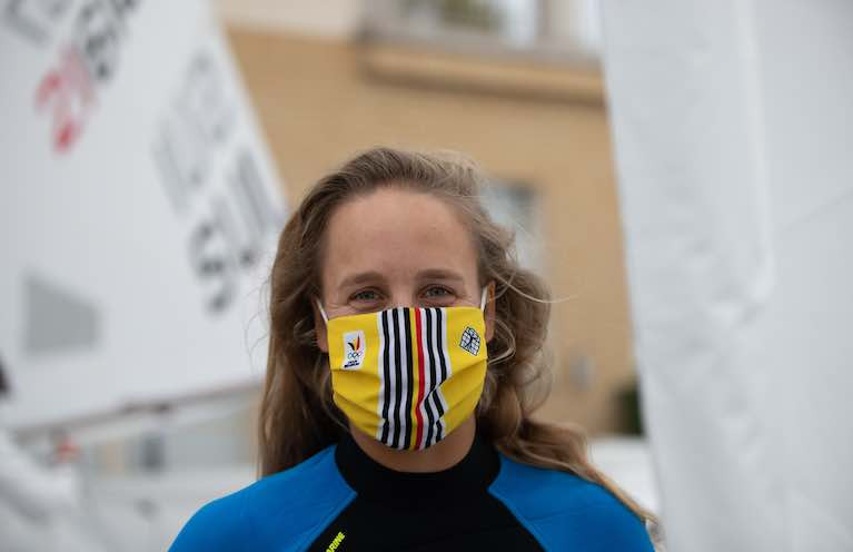 A competitor wearing a face mask at the Senior Laser European Championships & Open European Trophy on Gdansk Bay