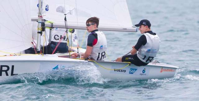 Irish boys 420 team of Geoff Power and James McCann competing in Sanya
