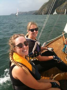 The Baily Headland at the north side of Dublin Bay is often in the midst of rough water, but in high summer with the vintage Howth 17s having their annual race round to Clontarf Regatta, it's in a benign mood. This is Joanna Cawley and Holly O'Doherty aboard Pauline in a race which was won by Isobel (Conor & Brian Turvey)
