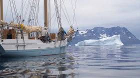 It's southwest Greenland. It's big. And it has icebergs. But at least the rough conditions of Cape Farewell are now well astern for the 56ft Limerick ketch Ilen as she coast-hops towards Greenland's capital of Nuuk on her Salmons Wake Educational Voyage.
