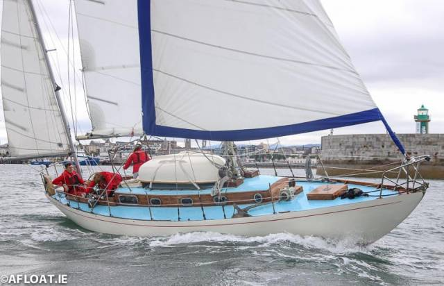 Verve, an Arthur Robb Yawl, sailed Brian and Jackie Comerford from the Dun Laoghaire Motor Yacht Club in the Classic Keelboat division