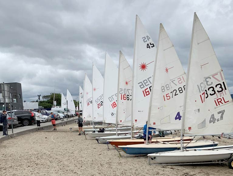 Laser dinghies prepare to launch at Bray Sailing Club