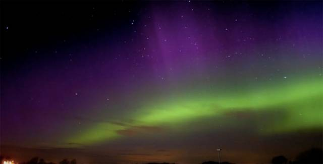 Northern Lights Shimmer Over Belfast & Lough Neagh