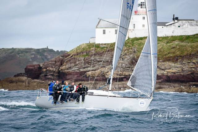 John Downing's Miss Whiplash competing in Royal Cork's Autumn League. Five races in the series have been sailed so far.