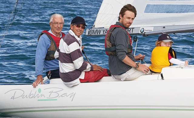 Dragon Sailors Great–grandad Noel (92), Grandad Paul (66), grandson Rory (38) and great grandson Evan (2)