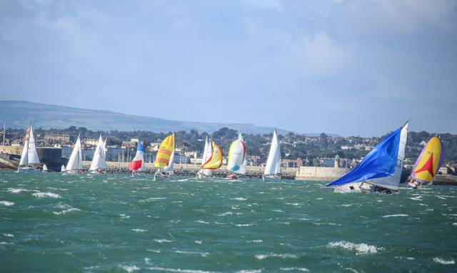 The 2016 DMYC Kish Race departs Dun Laoghaire in breezy conditions