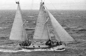 English sailor Robin Knox-Johnston on board his 32-foot (9.8-metre) boat Suhaili, in the Atlantic near the end of the 1968 Golden Globe Race.  His circumnavigation of the world, was the first to be achieved single-handed and non-stop, 21st April 1969. 50 years later, Dubliner, Gregor McGuckin, and 29 other entrants plan to replicate the original race.