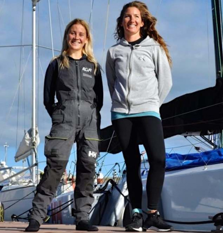 Cat Hunt (left) and Pamela Lee in Greystones Marina before their unique challenge began