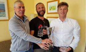 Neil Cramer (Class Chairman, L) with Ismail Inan (C) and Noel Butler (R) 2019 Ulster Fireball Champions