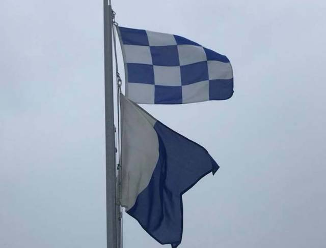 Flags indicate racing at Wave Regatta is cancelled at Howth today