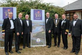 Commodore of the Naval Service Michael Malone, Minister of State Paul Kehoe TD, Royal Cork Yacht Club Admiral Pat Farnan, Minister for Foreign Affairs and Trade, Simon Coveney TD, Lord Mayor of Cork Cllr. Mick Finn Lord Mayor of Cork, Chief of Staff of the Defence Forces Mark Mellett and Vice Admiral of Royal Cork Colin Morehead