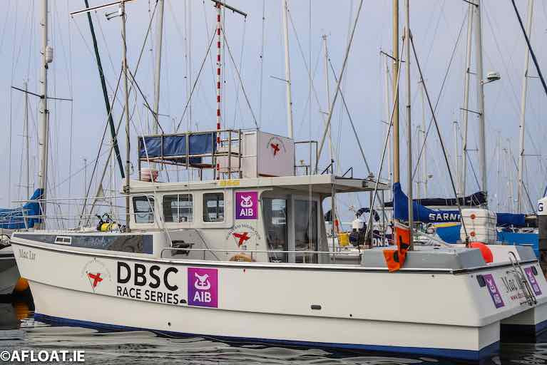 Mac Lir, one of DBSC's Race Management vessels -club racing has been suspended with immediate effect due to new level 3 restrictions