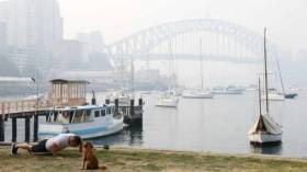 Smoke haze has cut visibility on Sydney Harbour to 0.1 nautical miles