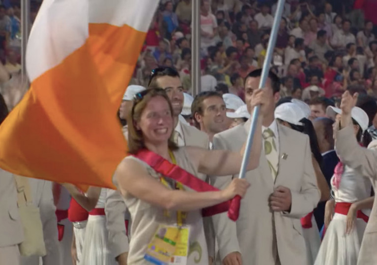 Ciara Peelo carries the tricolour for the Irish Olympic team at the Beijing 2008 opening ceremony