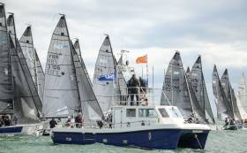 SB20 sportsboats, pictured here during September's staging of the European Championships on Dublin Bay, will be used in next week's All Ireland Sailing Champs on Lough Ree
