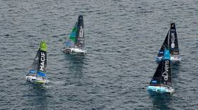 Tom Dolan (top left of picture) on his last leg of the La Solitaire URGO Le Figaro, a final 500-miler