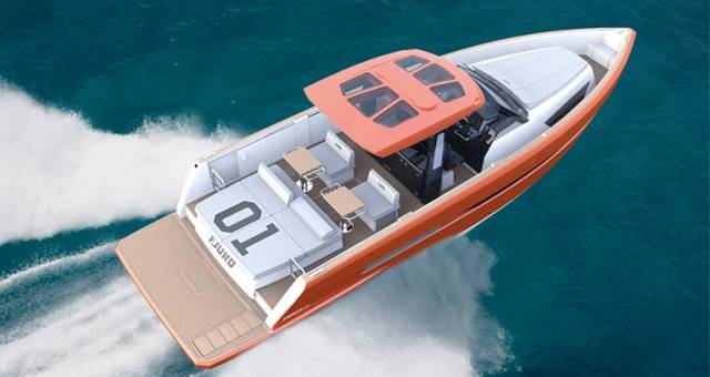 The new Fjord 42 open has an even more striking hull design and a flat deck layout