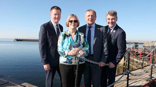 PwC partner Declan McDonald, oceanographer and climate change expert Kathryn Sullivan; Marine Minister Michael Creed and Marine Institute chief executive Dr Peter Heffernan pictured ahead of this year's Our Ocean Wealth Summit, which opened in Galway yesterday