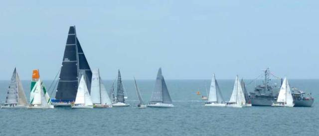 The start of the Volvo Round Ireland Race 2016 in an offshore breeze, with the fleet tending to bunch towards the Guardship at the outer end of the line. It has been suggested that in similar conditions, it might be useful to give the line a slight bias in favour of the inner end of the line, bringing the fleet close in off the Wicklow pierhead